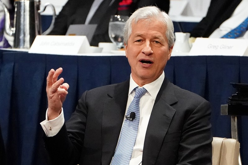 Jamie Dimon, CEO of JPMorgan Chase speaks to the Economic Club of New York in the Manhattan borough of New York City