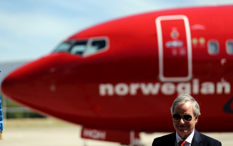 FILE PHOTO: Kjos, CEO of Norwegian Group, speaks during the presentation of Norwegian Air first low cost transatlantic flight service from Argentina at Ezeiza airport in Buenos Aires