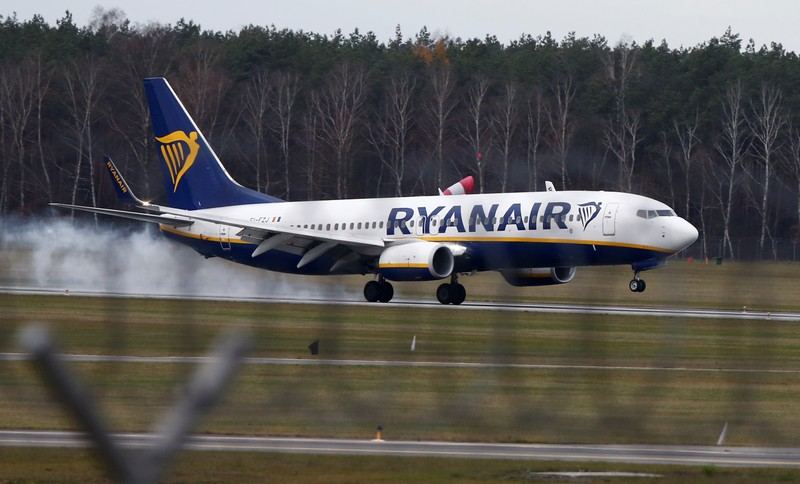 A Ryanair aircraft lands at the airport in Modlin near Warsaw