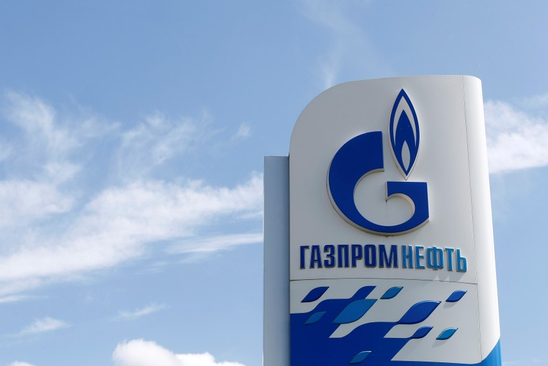 Board with Gazprom Neft oil company logo is on display in Moscow