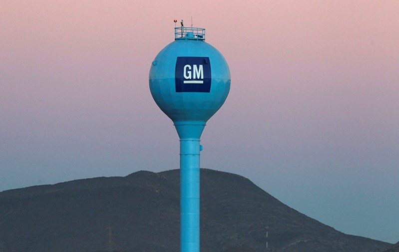FILE PHOTO - The GM logo is seen at the General Motors Assembly Plant in Ramos Arispe