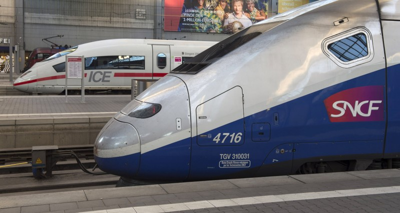 French High Speed Train (TGV) made by French train maker Alstom stops next to German High Speed Train (ICE) made by Siemens at Munich's railway station