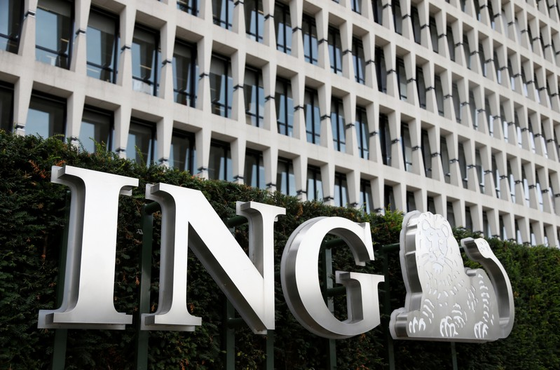 The logo of ING bank is pictured at the entrance of the group's main office in Brussels