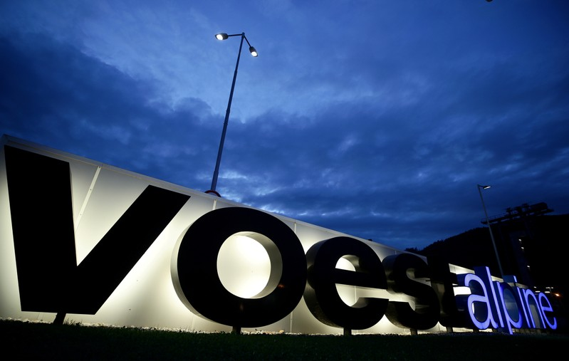 FILE PHOTO: The logo of steelmaker Voestalpine stands in front of the steel plant Donawitz in Leoben