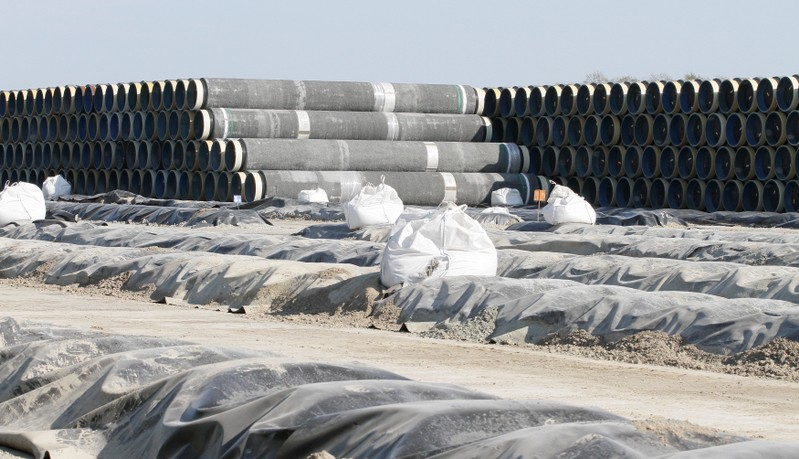 FILE PHOTO: A general view shows the pipe storage area of French pipe coating company EUPEC in Sassnitz