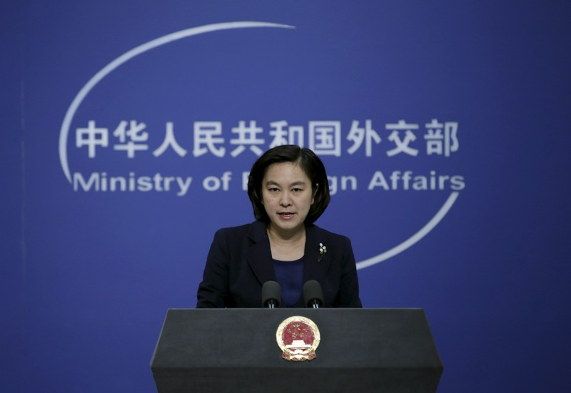FILE PHOTO:  Hua Chunying, spokeswoman of China's Foreign Ministry, speaks at a regular news conference, in Beijing