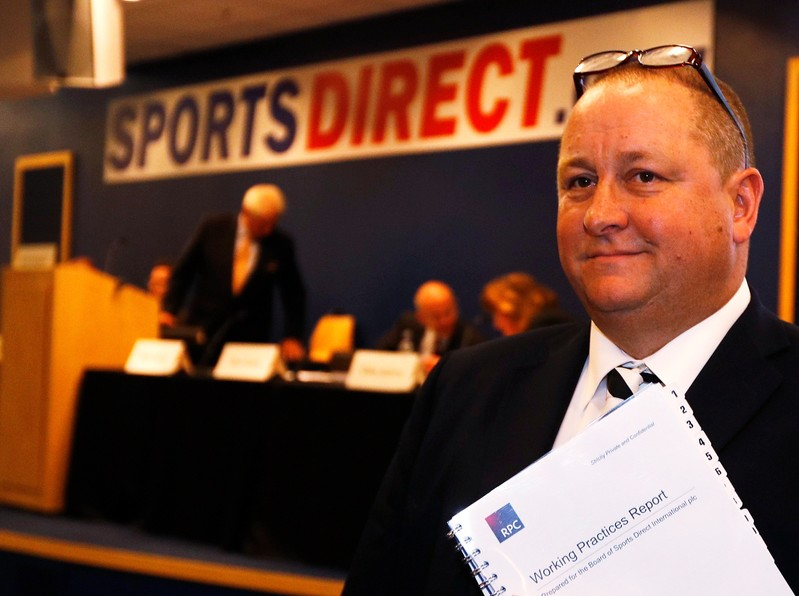 FILE PHOTO: Mike Ashley, founder and majority shareholder of sportwear retailer Sports Direct, arriving at the company's AGM
