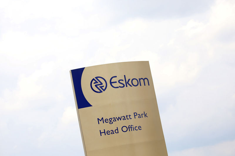 An Eskom logo is seen at the entrance of their head offices in Sunninghill, Sandton