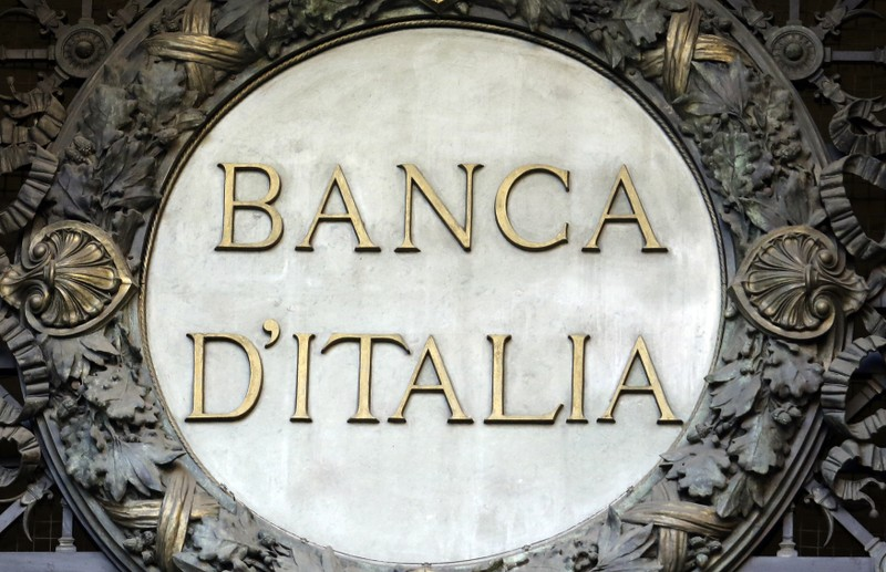 The Banca D'Italia logo is seen at the headquater in the downtown of Milan