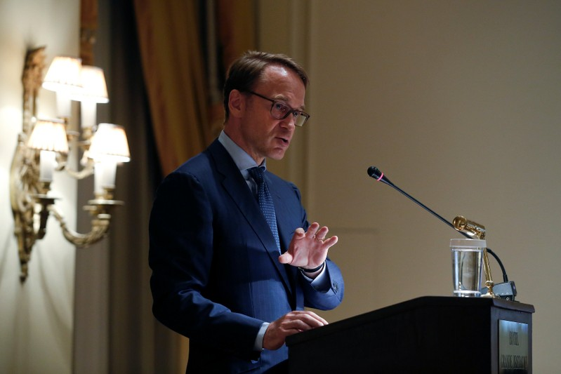 FILE PHOTO:  German Bundesbank President Weidmann delivers a speech during a dinner of the Hellenic Bank Association in Athens