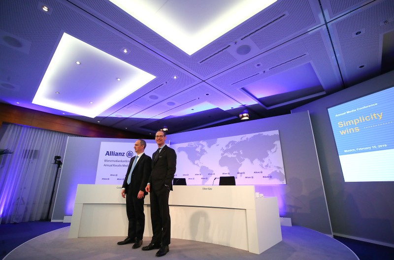Baete and Terzariol of Allianz SE attend the company's annual news conference in Munich