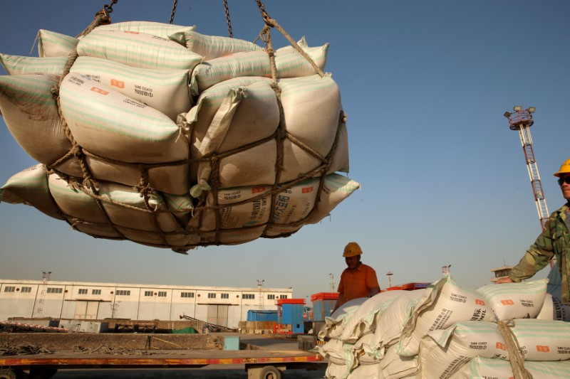 FILE PHOTO: Workers transport imported soybean products at a port in Nantong