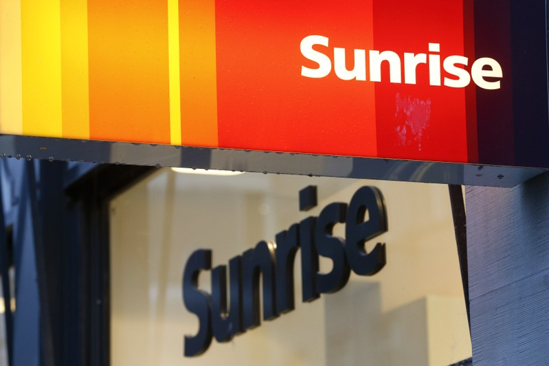 The company's logo is pictured at a shop of Swiss telecoms company Sunrise in Zurich