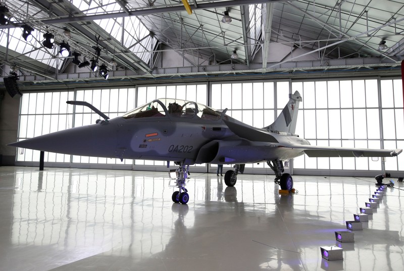 FILE PHOTO: A Qatari Rafale jet fighter is pictured in the factory of French aircraft manufacturer Dassault Aviation in Merignac near Bordeaux
