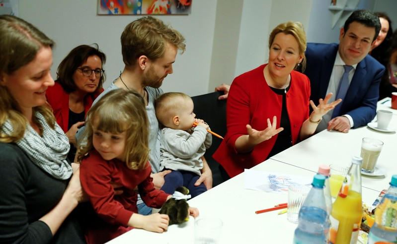 German Minister for Family, Pensioners and Youth Franziska Giffey and Labour Minister Hubertus Heil visit a family neighbourhood centre at Berlin's Wedding district