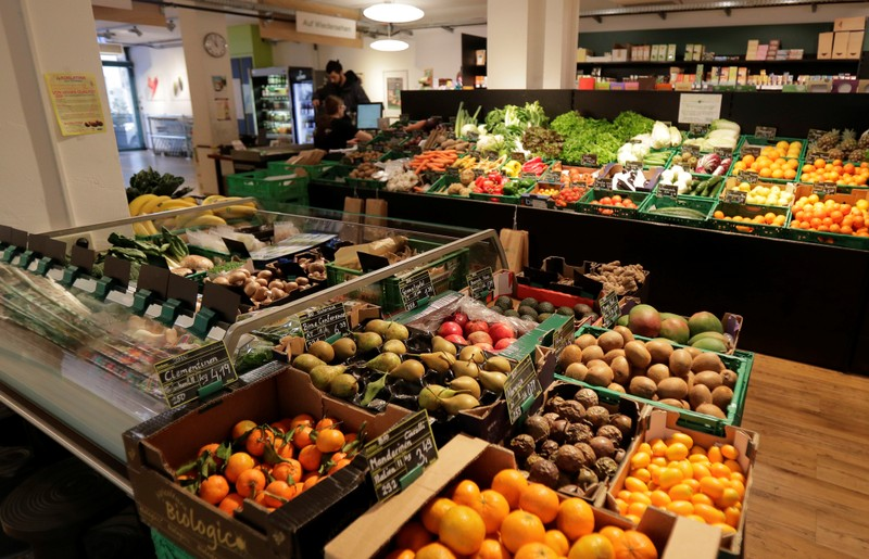 Fruits and vegetables are on display at Maran Vegan, Austria's first strictly vegan supermarket, in Vienna