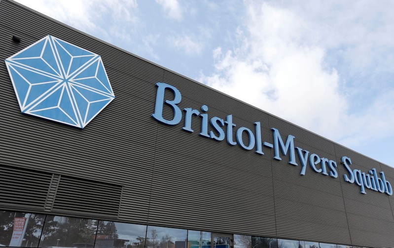 Logo of global biopharmaceutical company Bristol-Myers Squibb is pictured at the headquarters in Le Passage
