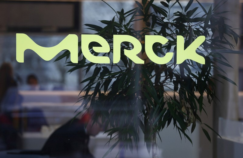 FILE PHOTO: A logo of drugs and chemicals group Merck KGaA is pictured in Darmstadt