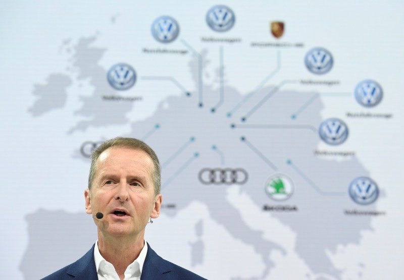 Herbert Diess, CEO of German carmaker Volkswagen addresses the media during the annual news conference at the Volkswagen plant in Wolfsburg