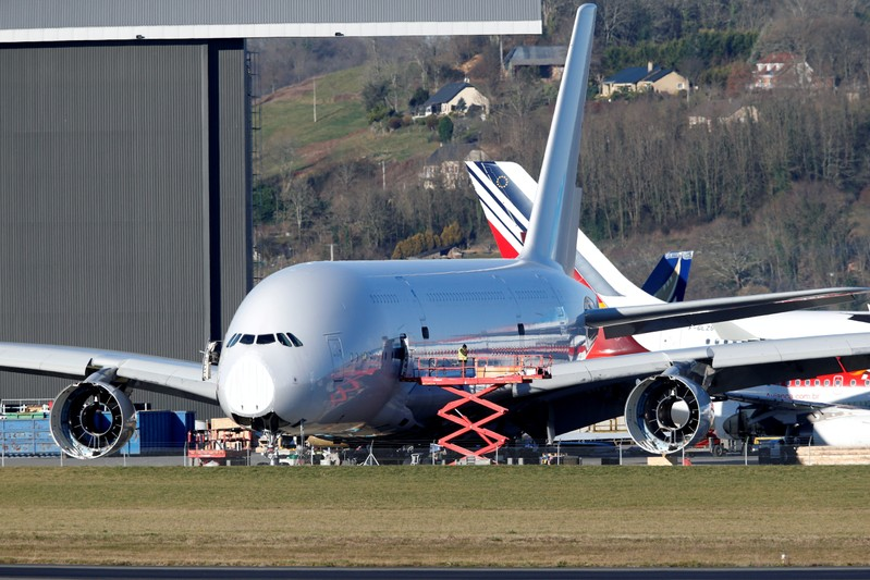 FILE PHOTO: An A380 Airbus superjumbo sits on the tarmac where it is dismantled at the site of French recycling and storage aerospace company Tarmac Aerosave in Tarbes