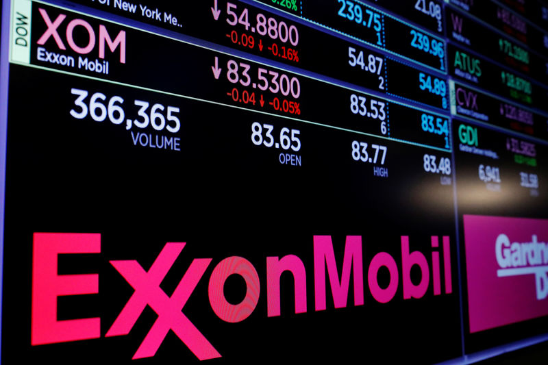 FILE PHOTO:  A logo of Exxon Mobil is displayed on a monitor above the floor of the New York Stock Exchange shortly after the opening bell in New York