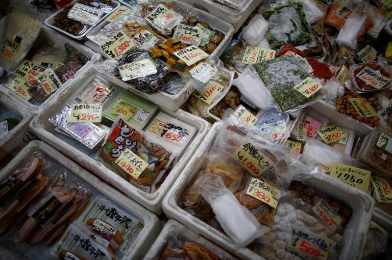 FILE PHOTO: Processed foods are displayed at the Tsukiji fish market in Tokyo