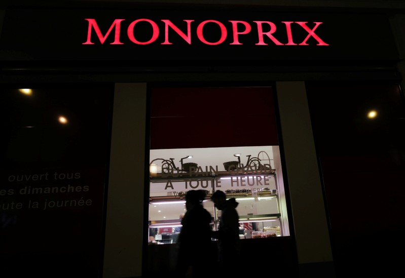 The logo of Monoprix is seen at the entrance of a Monoprix supermarket in Nice