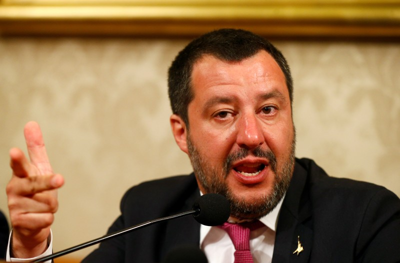 FILE PHOTO - Italian Deputy PM Salvini arrives at news conference at Senate in Rome