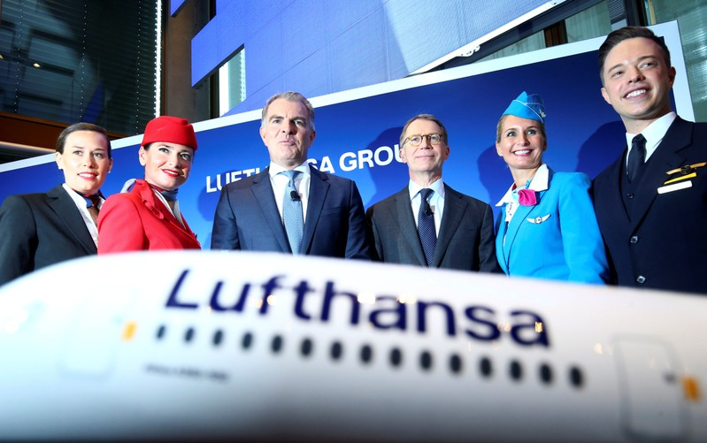 German airline Lufthansa's Chief Executive Officer Spohr and Chief Financial Officer Svensson attend the company's annual news conference in Frankfurt