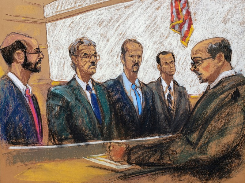 Assistant U.S. Attorney Kessler and lawyers for Huawei Technologies Co Ltd, Cole, Bitkower and Levy listen to Judge Reyes at they plead not guilty to a 13-count indictment against the world's largest telecommunications equipment maker, in New York