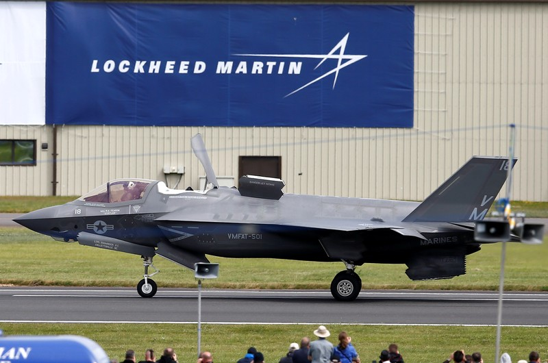 FILE PHOTO:  A US Marine Corps Lockheed Martin F-35B fighter jet taxis after landing at the Royal International Air Tattoo at Fairford