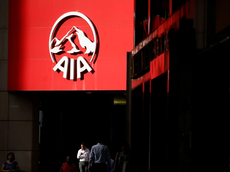 FILE PHOTO: An AIA logo is seen on a building in Singapore