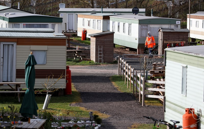 The accommodation area for eastern European workers is seen at Cobrey Farm in Ross-on-Wye