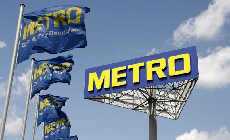 File photo of logo of Germany's biggest retailer Metro AG pictured at a Metro cash and carry in Berlin