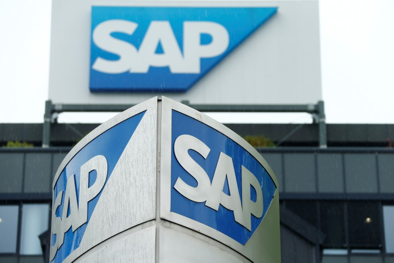 The logo of German software group SAP is pictured at its headquarters in Walldorf