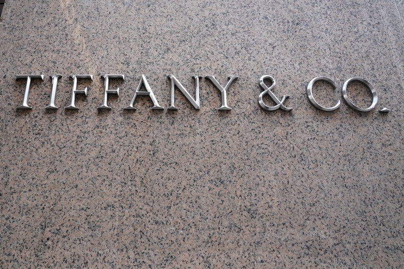 A Tiffany & Co logo is seen outside the store on 5th Ave in New York