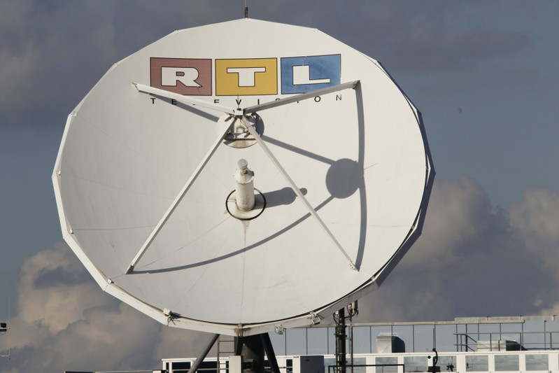 A satellite dish of RTL Television is seen on the roof of the former RTL headquarters in Cologne