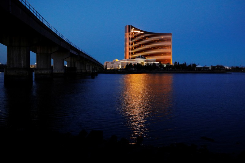 The Encore Casino, built by Wynn Resorts, stands beside the Mystic River in Everett