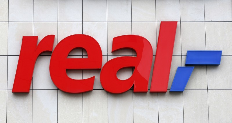 The logo of German supermarket chain Real is pictured in Berlin