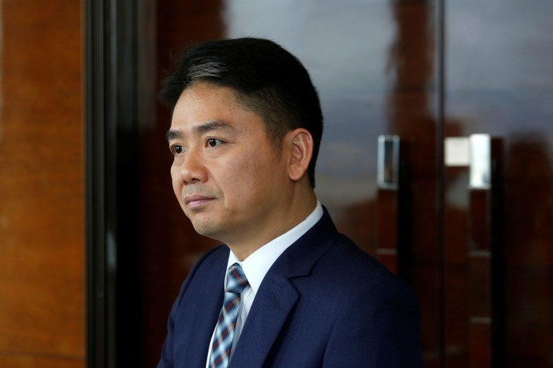 JD.com founder Richard Liu attends a Reuters interview in Hong Kong
