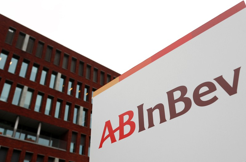 The logo of AB InBev is pictured outside the brewer's headquarters in Leuven