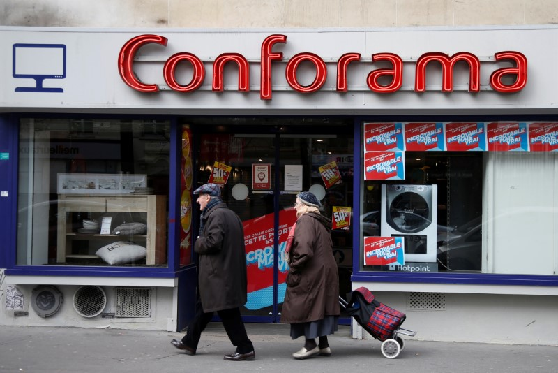A logo is seen on the facade of a discount furniture retailer Conforama store in Paris