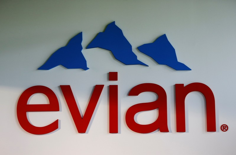 An Evian water logo is pictured in the shop of the bottling plant in Publier near Evian-les-Bains