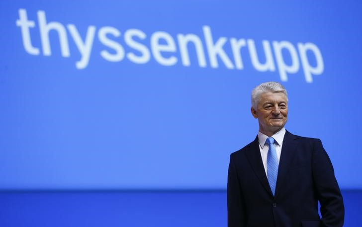 ThyssenKrupp CEO Hiesinger poses on stage before the company's annual shareholders meeting in Bochum