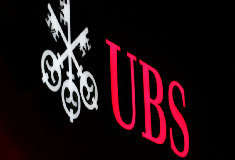 The logo of Swiss bank UBS is seen in St. Moritz