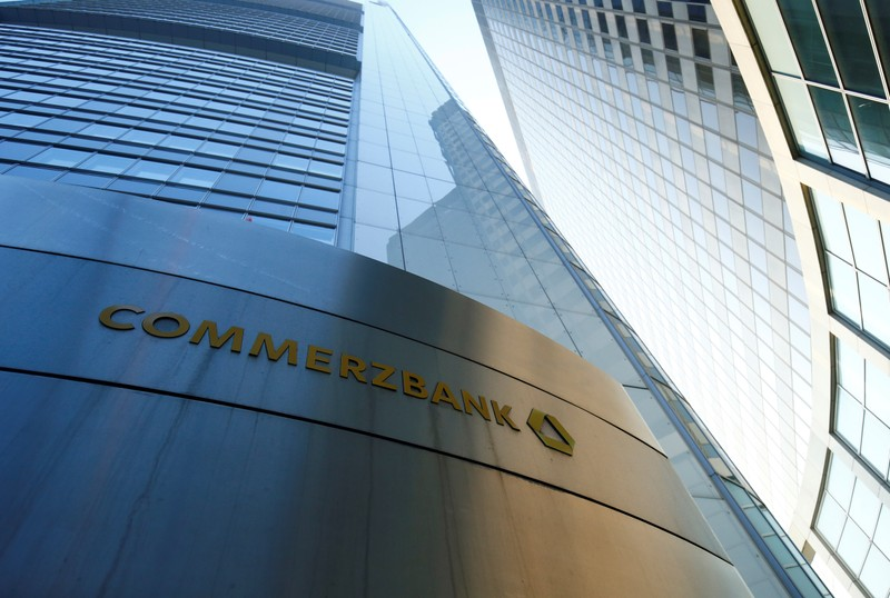 The headquarters of the Commerzbank are pictured before the bank's annual news conference in Frankfurt