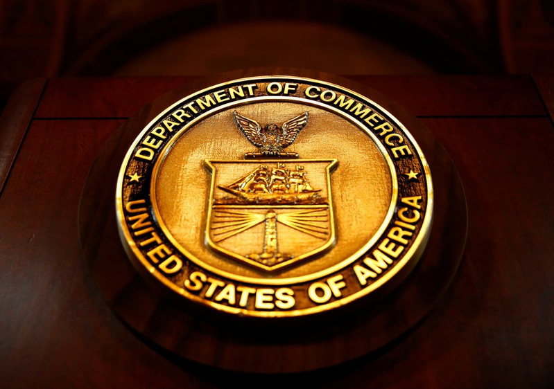 FILE PHOTO: The seal of the Department of Commerce is pictured in Washington