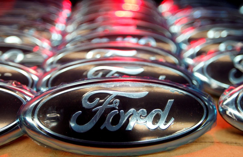 FILE PHOTO: Ford logos are seen at the assembly line of the Ford car factory of Saarlouis, Germany