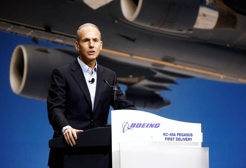 FILE PHOTO: Boeing Chairman, President and CEO Muilenburg speaks during a delivery celebration of the Boeing KC-46 Pegasus aerial refueling tanker to the U.S. Air Force in Everett, Washington