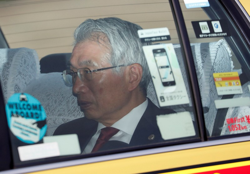 Junichiro Hironaka, chief lawyer of the former Nissan Motor chairman Carlos Ghosn, is seen inside a car as he leaves at Tokyo Detention House in Tokyo